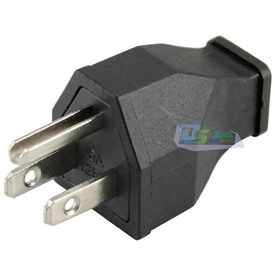 Black AC 125V 15A 3 Pin Male Power Cord Connector US Plug Converter High Power