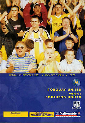 Torquay United v Southend United 05.10.01 Division 3