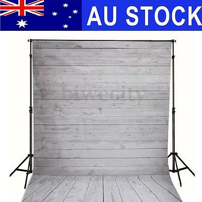 AU 5x7FT Photography Background White Wooden Wall Floor Studio Photo Backdrop