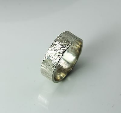 Sterling silver ring '' Neo ''  Men's ring plain band - hammered silver ring