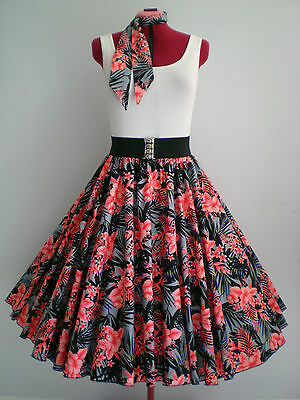 "ROCK N ROLL/ROCKABILLY ""Tropical Hawaii"" SKIRT & SCARF S-M Black/Grey/Salmon."