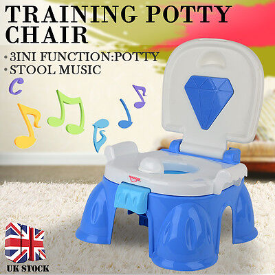 3 in 1 Child Toddler Music Potty Training Seat Baby Kid Fun Toilet Trainer Chair
