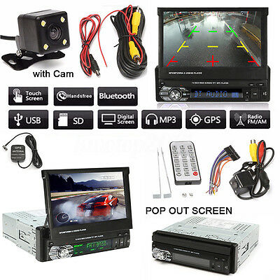 1 DIN 7'' HD Touch Screen DVD CD MP3 MP5 USB Bluetooth Video Player GPS + Camera