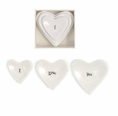 East of India Porcelain Heart Dishes- I Love You Gift