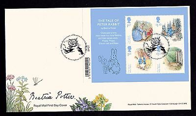 2016 GB Royal Mail Beatrix Potter Mini Sheet First Day Cover Unaddressed
