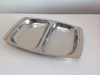 Mid Century Stainless Steel 2 section Hors D' Oeuvres dish