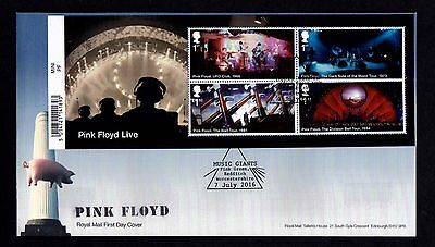 2016 GB Royal Mail Pink Floyd Mini Sheet First Day Cover Unaddressed