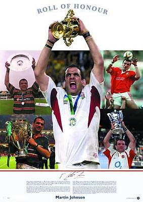 Martin Johnson England Rugby Signed 'Roll of Honour' Print - AFTAL RD