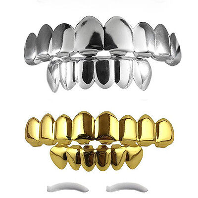 14K Gold Plated Teeth Grillz Top & Bottom Halloween NEW HIGH QUALITY!!