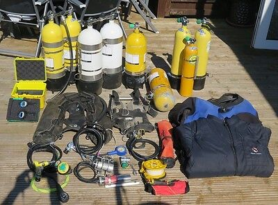 Scuba equipment 15L Twinset Trimix technical diving. Jetstreams, stage cylinders