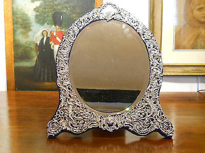 Solid silver mirror antique English huge size 20x15 inches William Comyns 1893