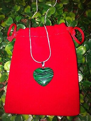 Malachite Tear Drop Crystal Gemstone Pendant Necklace On Sterling Silver Chain
