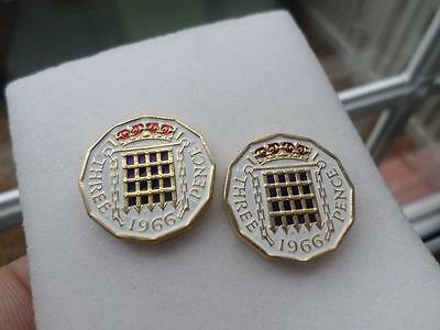 2 Identical Vintage Hand Painted Threepence Coins 1966. Great Birthday Presents