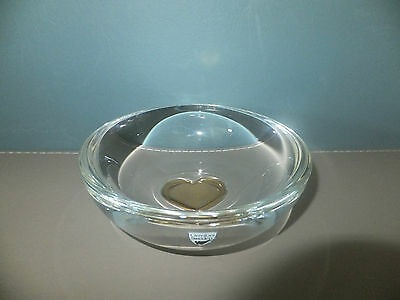 Orrefors Gold Heart Crystal Dish/Bowl With Label and Etched Orrefors Signature