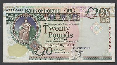 Bank Of Ireland == 20 Pounds Banknote== 05/09/2000 == Vf++