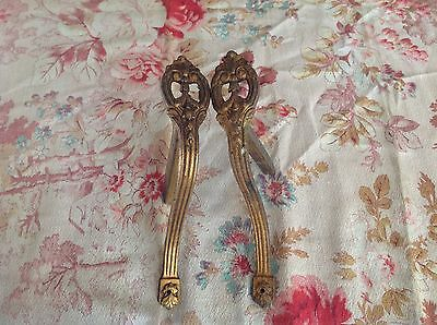 Two Brass Bronze French Antique Wall Curtain Support Brackets