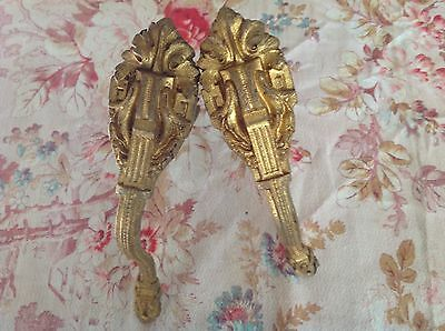 Two French Brass Bronze Antique Curtain Pole Wall Support Brackets