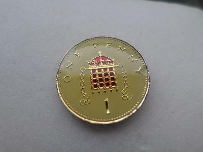 Vintage Enamelled One Penny Coin. Lucky Charm. Great Birthday Present