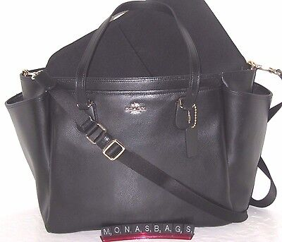 New Coach Multi function Laptop Baby Diaper Bag Black Leather F35702 NWT $495