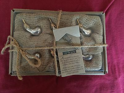 Set (6) knife rest eggplant silver plated porte chateaux silver & gold toned(6)