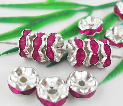 Free Ship 100Pcs Silver Plated Rose Crystal Spacer Beads 8mm