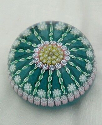 Beautiful Vintage Perthshire Glass Millefiori Twisted Cane Paperweight