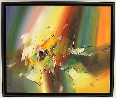 Hand Painted Oil Painting on Canvas,Framed Abstract Patterns Orange Green