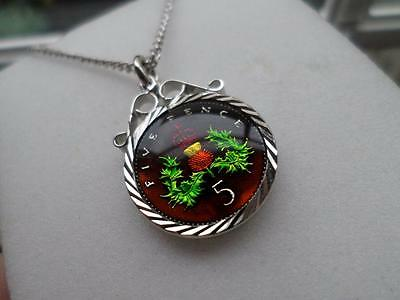 Vintage Enamelled 5 Pence Coin 1990 Pendant & Necklace. Birthday Xmas Present