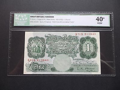 Rare - First Run - Replacement Bank Of England £1 Pound Note L.k.o'brien S71S