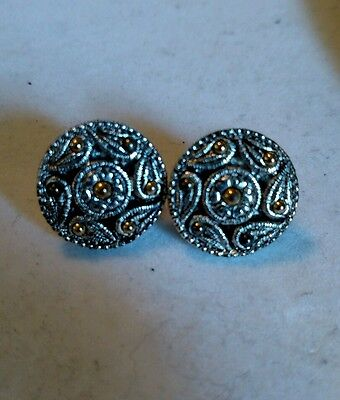 Round silver color with gold color dots adjustable clip on earrings