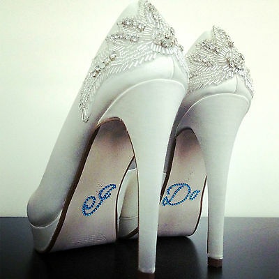 I Do Shoe Stickers - Blue or Clear :: Diamante Wedding Shoes Crystals Sticker