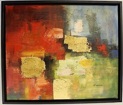 Hand Painted Oil Painting on Canvas,Framed Abstract Colours Red Blue Green