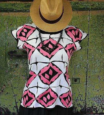 Hand Embroidered Pink & White Huipil, Jalapa Oaxaca Mexico, Hippie Cowgirl Boho