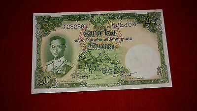 1953 Thailand Paper Money - 20 Baht - King Rama - UNC