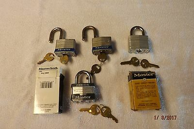Master Lock Lot of 6 various keyed/combo padlocks 5 new and 1 used