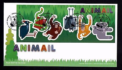 2016 GB Royal Mail Animail Mini Sheet First Day Cover Unaddressed