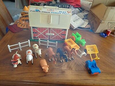 Vintage Fisher Price Little People Barn with extras fence animals