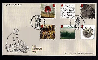GB 2016 Royal Mail WW1 1916 First Day Cover  Unaddressed
