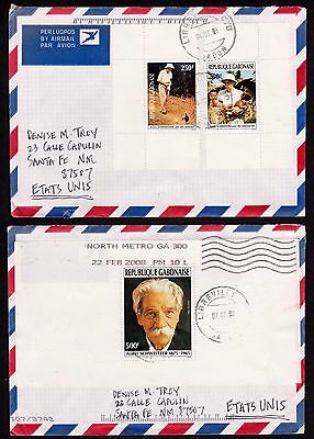 1993 Gabon Sc #769-771 Dr. Albert Schweitzer set ex-Booklet on Air Cover to U.S.