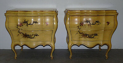 Vintage Union National Bombe French Provincial Nightstands Tables Painted 120703