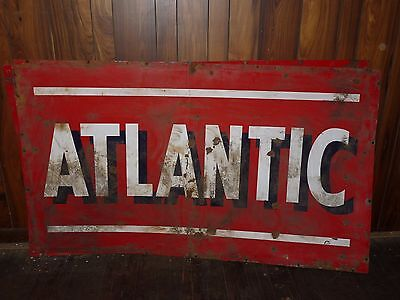 """Large 42"""" x 72"""" Vintage Metal Double Sided Atlantic Oil Gas Sign - N"""