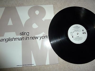 "Sting, Englishman In New York 12"" Promotional Single On A&m Record Label."