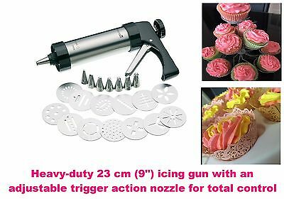 Cookie Press Stamper Icing Gun Professional Set Deluxe Stainless Steel 22pcs