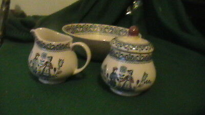 JOHNSON BROS 'Hearts and Flowers' CREAMER, SUGAR BOWL (with Lid), and BOWL