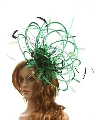 Emerald Green & Black Fascinator hat/choose any colour satin/highlight feathers
