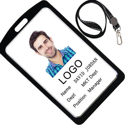 Acctrend ID Badge Holder with Lanyard, Vertical Holder Made of Aluminum Alloy