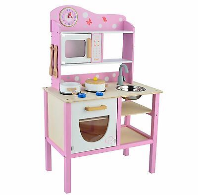 Kids Childrens Pink Girls Role Wooden Play Kitchen Pretend Cooking By Butternut