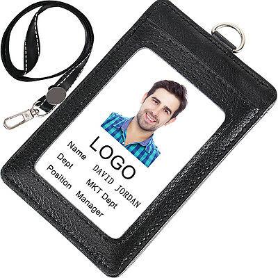 Acctrend Genuine Leather Badge Holder with Lanyard and 3 Slots Fit for ID Card