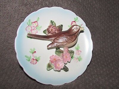 "Vintage 5"" SPRING ROBIN decorative collectible Japan Lefton bird 3D wall plate"