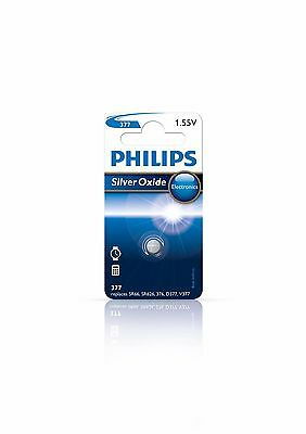 2x Philips Silver Oxide 377 1.55v Battery Mini Cell Button Watch Calc 36316